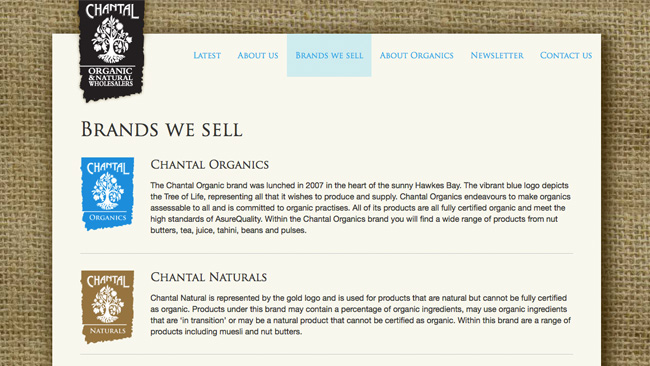 Site de Chantal Organic Wholesalers