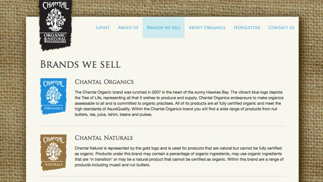 Site de Chantal Organic Wholesalers