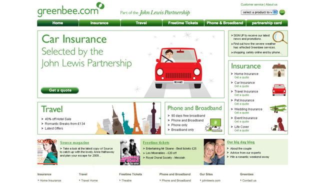 Site da John Lewis Insurance (Greenbee)