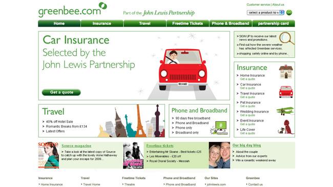 Site da John Lewis Insurance (Greenbee)