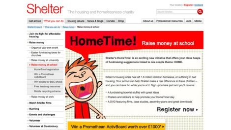 Shelter campaign web pages