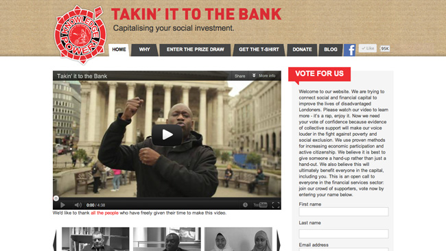 "Site da campanha ""Takin' it to the bank"""
