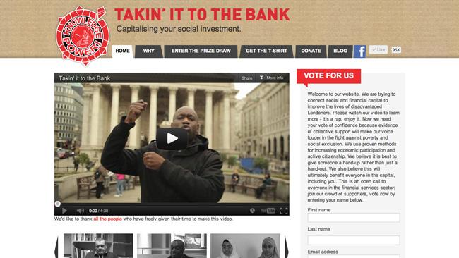 """Site da campanha """"Takin' it to the bank"""""""
