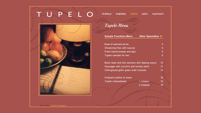 Site do bar Tupelo